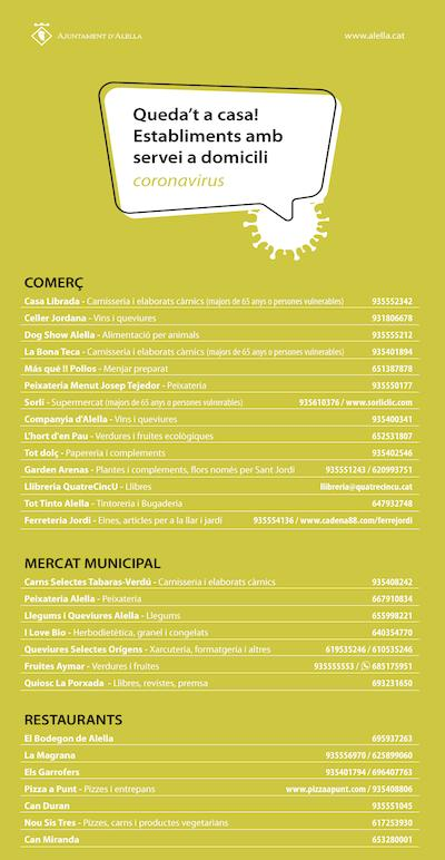 Llistat comerços repartiment domicili