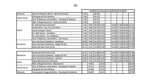 Nous horaris línia e19 a partir del 3 d'abril